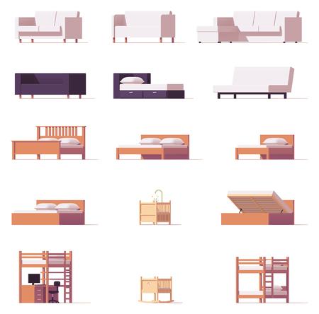 ベクトルのベッドとソファのセット