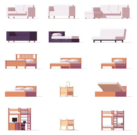 Vector beds and sofas set 版權商用圖片 - 83476532