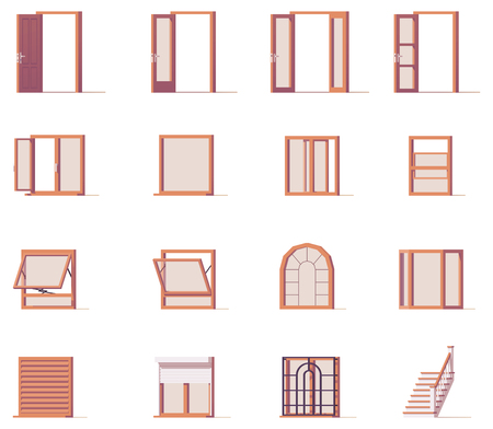 Vector windows and doors set