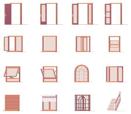 Vector ramen en deuren instellen