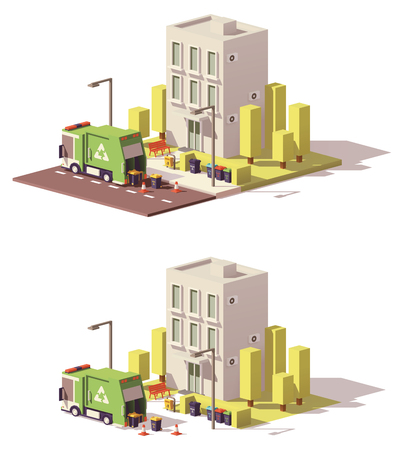 Vector low poly building icon