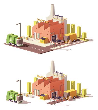 ベクトル低ポリ工場アイコン  イラスト・ベクター素材