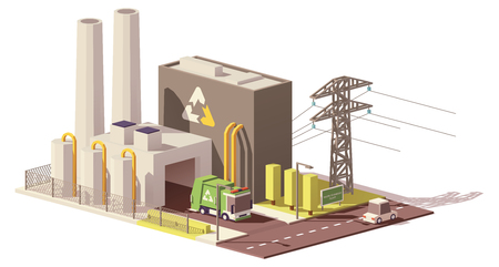 Vector low poly waste-to-energy plant Çizim