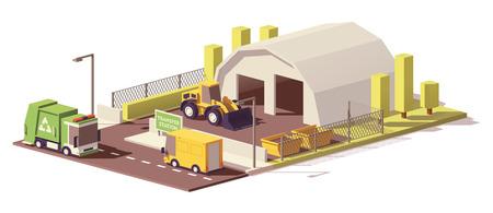 cargador frontal: Icono de la estación de transferencia de residuos.