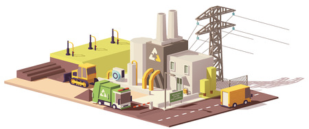 Vector low poly landfill gas collection plant Ilustração