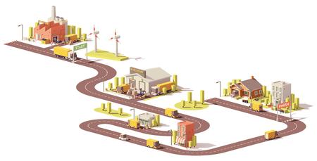 Producten leveranciersketen van fabriek naar klanten Stock Illustratie