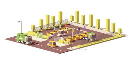 Vector Low-Poly-Müllabfuhrzentrum Standard-Bild - 84872645