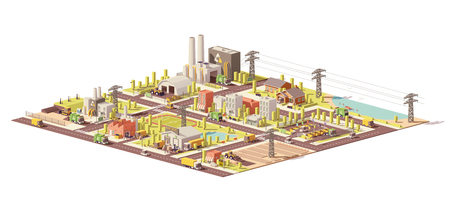 Vector low poly city waste management