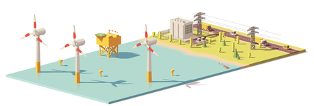 Vector low poly wind turbines power plant
