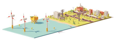 Vector low poly wind turbines power plant infrastructure. Includes offshore wind farm, power lines and city
