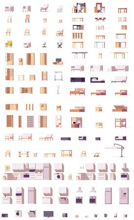 Ensemble de meubles en bambou bas de vecteur Banque d'images - 85184700