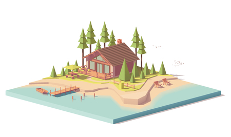 Vector low poly house in forest Stock fotó - 85184705