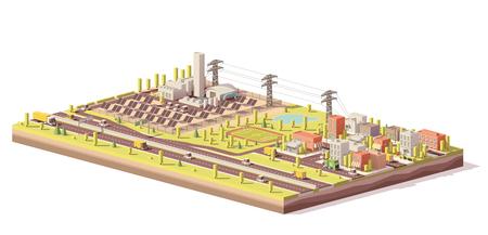 Vector low poly solar power plant et city Banque d'images - 85184706