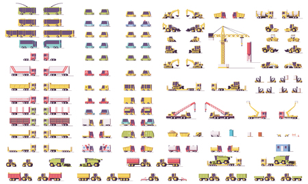 Vector isometric low poly transport set  イラスト・ベクター素材
