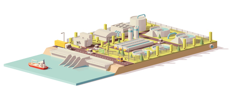 Vector low poly water treatment plant Stock Illustratie