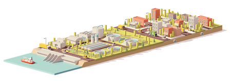 ベクトル低ポリ水処理と消費  イラスト・ベクター素材