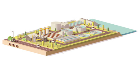 Vector low poly wastewater treatment plant Çizim