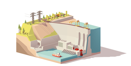 Vector low poly hydroelectric power station Illustration