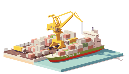 Vector low poly port container terminal and ship Çizim