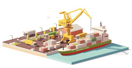 ベクトル低ポリ港コンテナ ターミナルと船