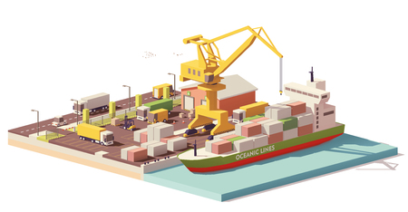 Vector low poly port container terminal and ship Illusztráció