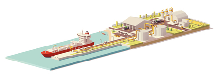 Vector low poly LNG terminal and LNG carrier ship Illustration