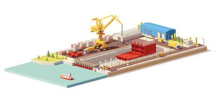 Vector laag poly scheepsbouw in droogdok Stockfoto