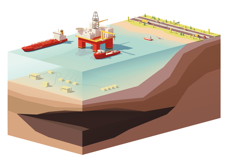 Vector low poly offshore oil rig drilling platform. Illustration