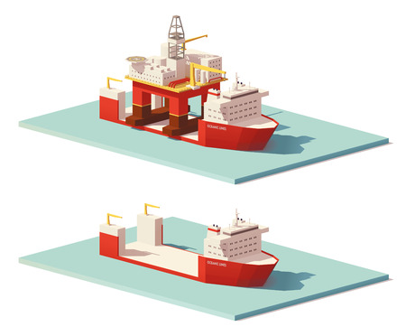 Vector low poly heavy lift ship and oil rig.