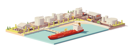 Vector low poly oil depot and oil tanker ship.