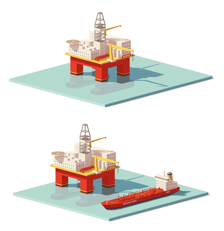 Vector low poly offshore oil rig drilling platform. Stock Illustratie