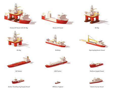 Vector low poly offshore oil exploration vessels.