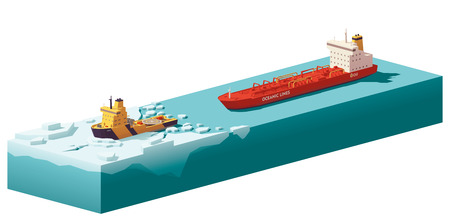 sea tanker ship: Vector low poly icebreaker breaking the ice
