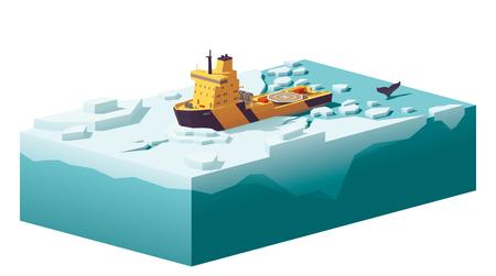 Vector lage poly ijsbreker die het ijs breekt