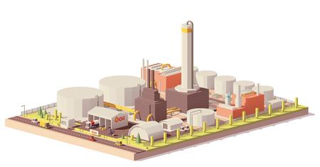 Planta de refinería de petróleo de baja poli del vector Ilustración de vector
