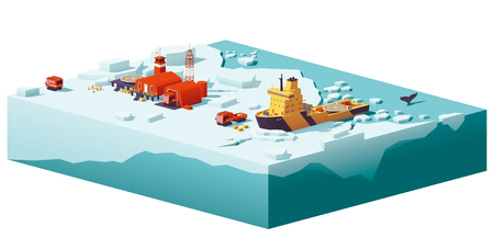 Vector low poly polar station and icebreaker