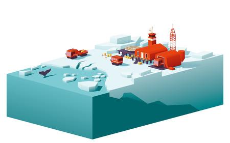 Wektor low poly polar station Ilustracje wektorowe