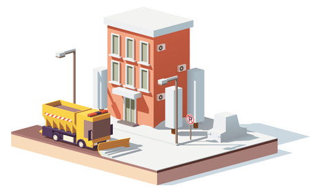 Vector lage polysneeuwploegen die in de stad werken
