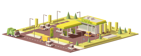 Vector low poly gas station