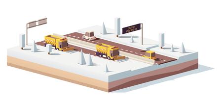 Vector lage polysneeuwploegen die aan de weg werken