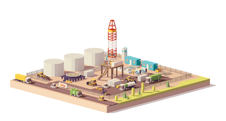 Vector low poly land oil and gas drilling rig Иллюстрация