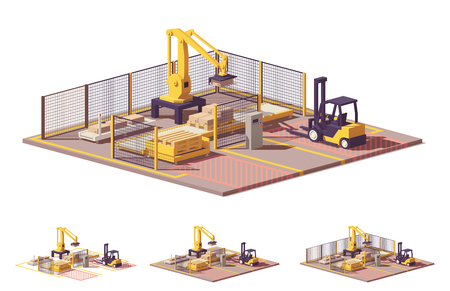 Vector low poly robotic palletizing cell Stock Illustratie
