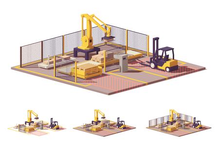 Vector laag poly robotiseerbare palletiseercel
