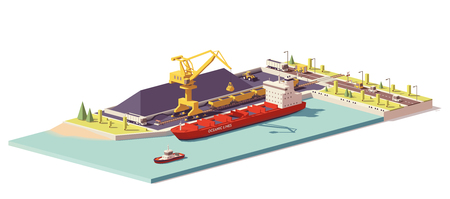 Vector low poly coal terminal with bulk carrier ship and crane loading coal