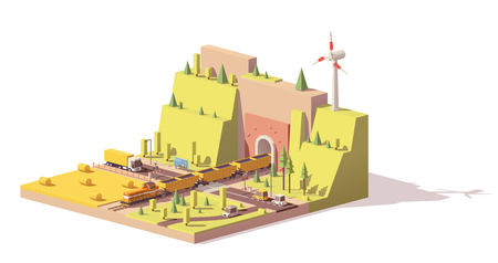 Low poly railroad crossing.