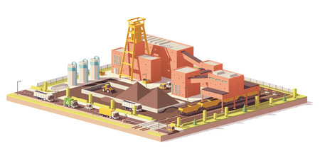 Vector low poly coal mine