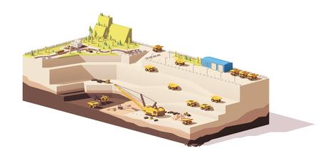 Wektor low poly odkrywkowa kopalnia węgla kamiennego Ilustracje wektorowe