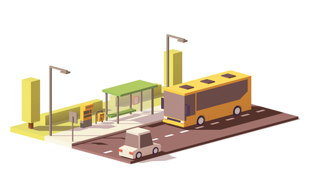 Vector low poly bus en de bushalte