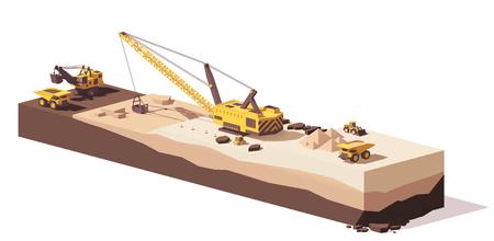 벡터 낮은 폴리곤 굴착기 및 운반 트럭 일러스트