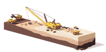 Vector low poly excavators and haul truck Çizim